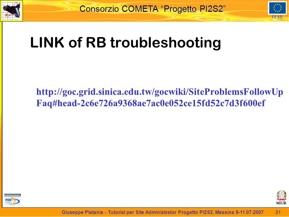 martedi 8 novembre 2005 Consorzio COMETA Progetto PI2S2 FESR 21 Giuseppe Platania - Tutorial per Site Administrator Progetto PI2S2, Messina 9-11.07.2007 LINK of RB troubleshooting http://goc.grid.sinica.edu.tw/gocwiki/SiteProblemsFollowUp Faq#head-2c6e726a9368ae7ac0e052ce15fd52c7d3f600ef