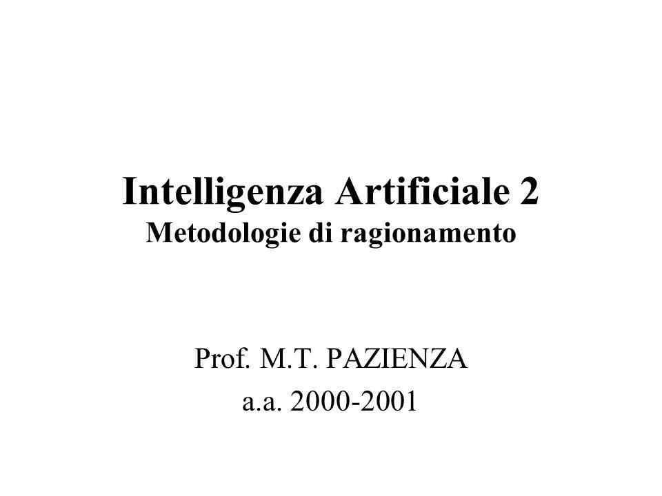 Intelligenza Artificiale 2 Metodologie di ragionamento Prof. M.T. PAZIENZA a.a. 2000-2001