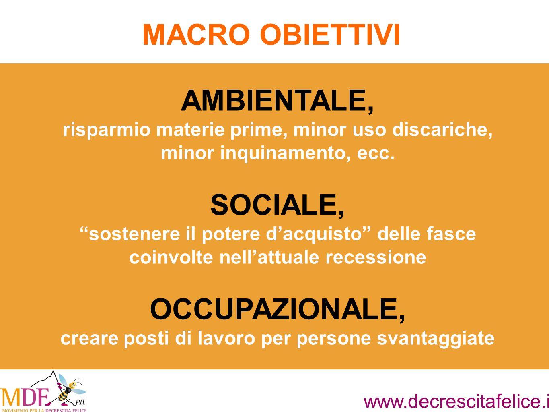 www.decrescitafelice.it AMBIENTALE, risparmio materie prime, minor uso discariche, minor inquinamento, ecc.