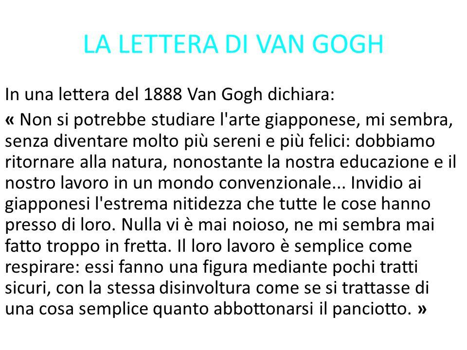 LA LETTERA DI VAN GOGH In una lettera del 1888 Van Gogh dichiara: « Non si potrebbe studiare l'arte giapponese, mi sembra, senza diventare molto più s