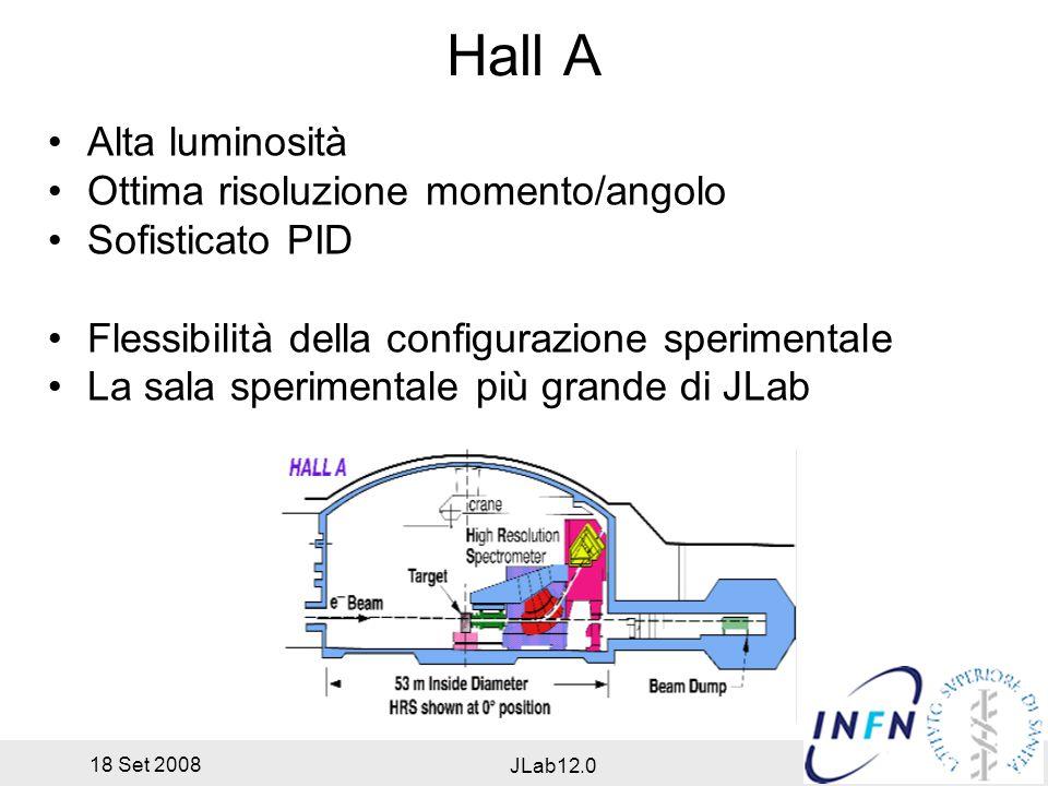 18 Set 2008 JLab12.0 Hall A Alta luminosità Ottima risoluzione momento/angolo Sofisticato PID Flessibilità della configurazione sperimentale La sala sperimentale più grande di JLab