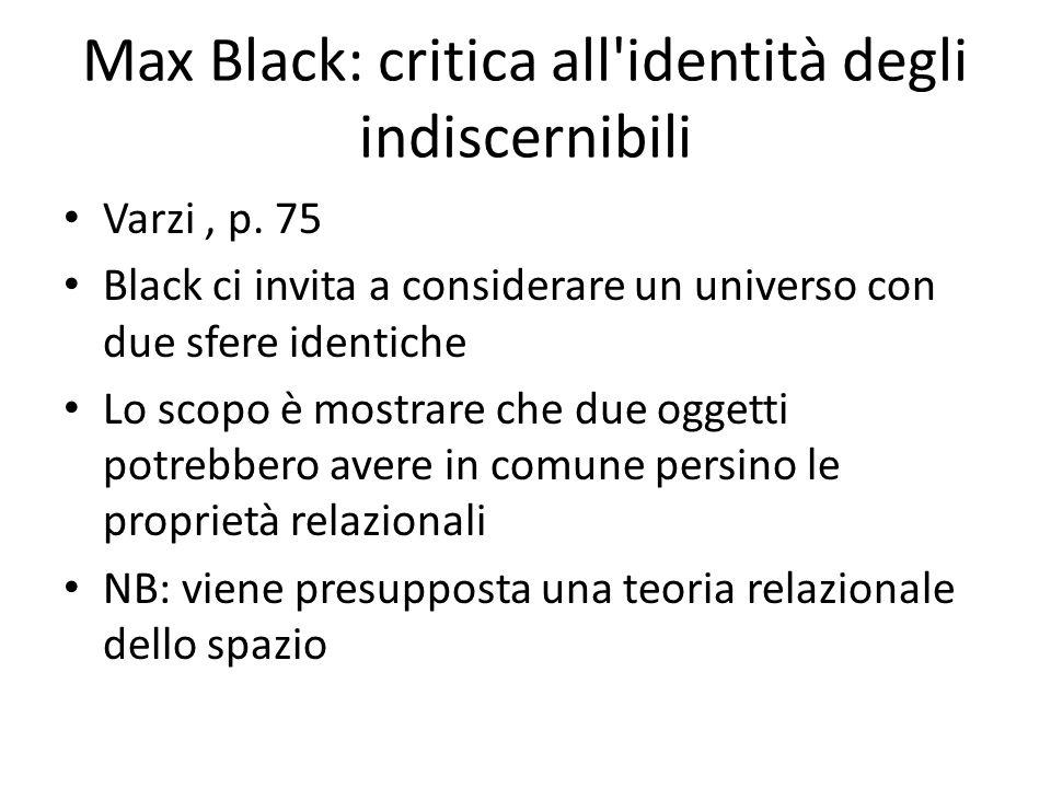 Max Black: critica all'identità degli indiscernibili Varzi, p. 75 Black ci invita a considerare un universo con due sfere identiche Lo scopo è mostrar