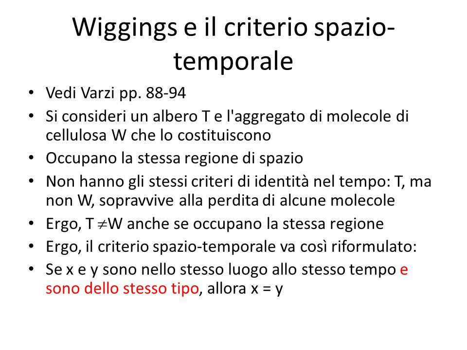 Wiggings e il criterio spazio- temporale Vedi Varzi pp. 88-94 Si consideri un albero T e l'aggregato di molecole di cellulosa W che lo costituiscono O