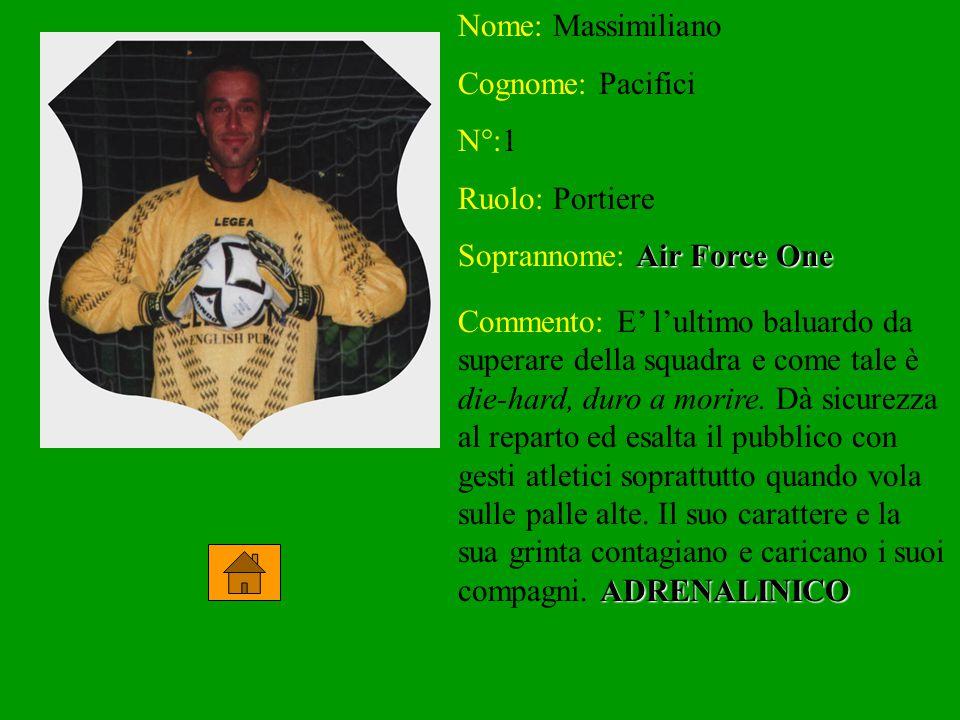 Nome: Massimiliano Cognome: Pacifici N°:1 Ruolo: Portiere Soprannome: Air Force One Commento: E' l'ultimo baluardo da superare della squadra e come ta