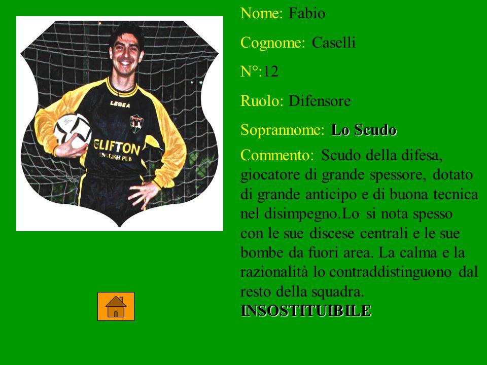 Nome: Fabio Cognome: Caselli N°:12 Ruolo: Difensore Soprannome: Lo Scudo Commento: Scudo della difesa, giocatore di grande spessore, dotato di grande