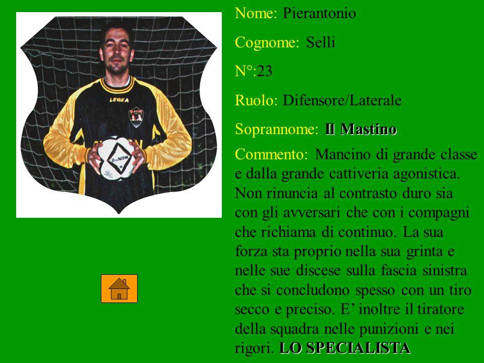 Nome: Pierantonio Cognome: Selli N°:23 Ruolo: Difensore/Laterale Soprannome: Il Il Mastino Commento: Mancino di grande classe e dalla grande cattiveria agonistica.