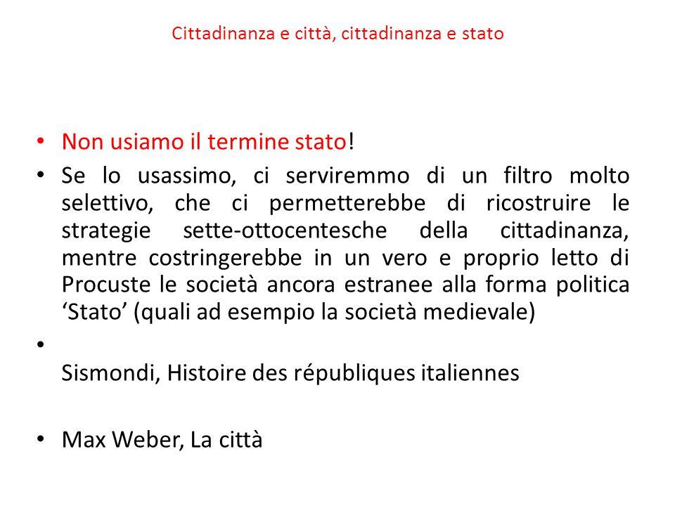 Cittadinanza e città, cittadinanza e stato Non usiamo il termine stato.