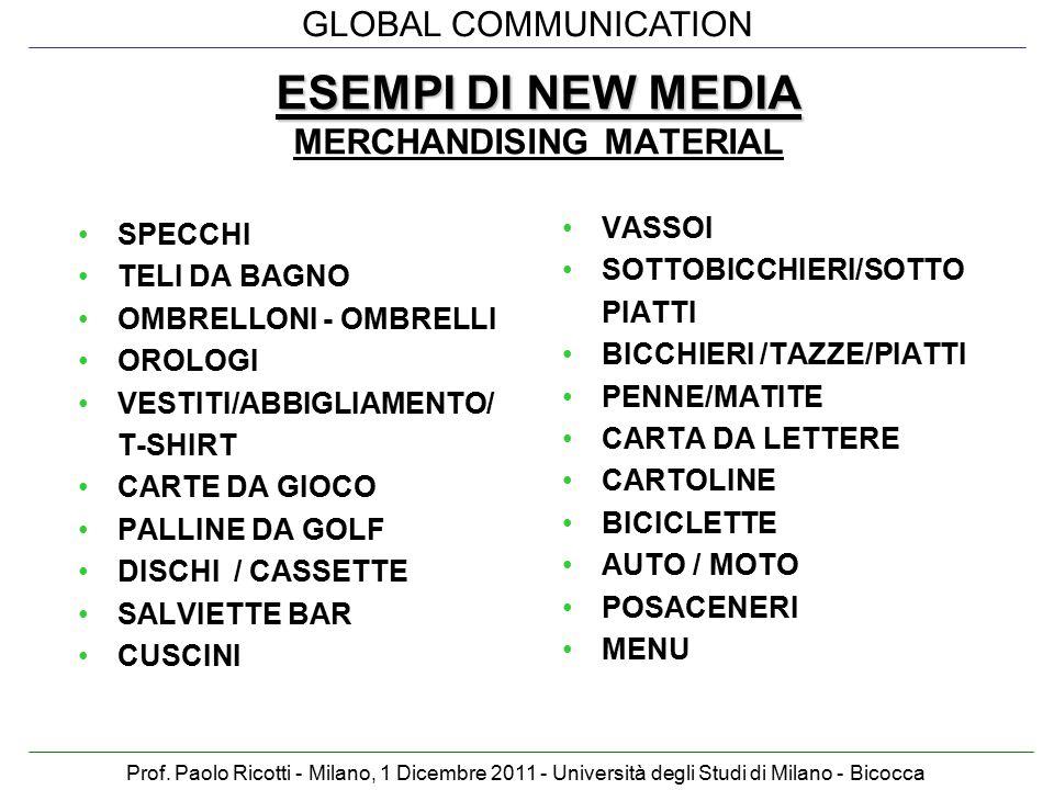 GLOBAL COMMUNICATION Prof. Paolo Ricotti - Milano, 1 Dicembre 2011 - Università degli Studi di Milano - Bicocca ESEMPI DI NEW MEDIA ESEMPI DI NEW MEDI