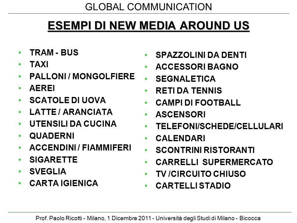 GLOBAL COMMUNICATION Prof. Paolo Ricotti - Milano, 1 Dicembre 2011 - Università degli Studi di Milano - Bicocca ESEMPI DI NEW MEDIA AROUND US TRAM - B