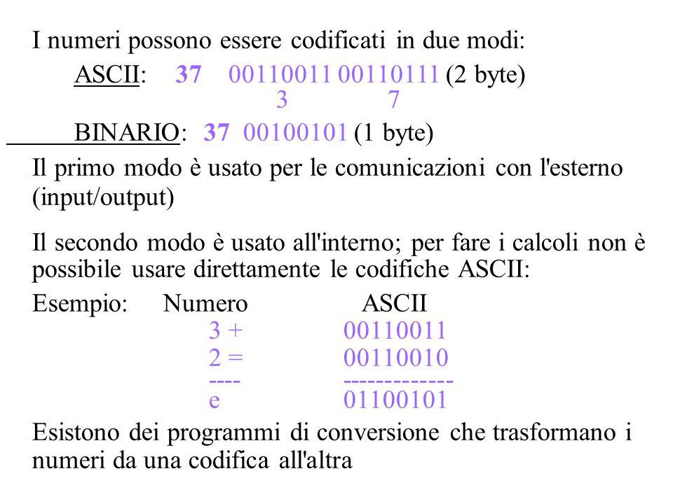 I numeri possono essere codificati in due modi: ASCII: 37 00110011 00110111 (2 byte) 3 7 BINARIO: 37 00100101 (1 byte) Il primo modo è usato per le co