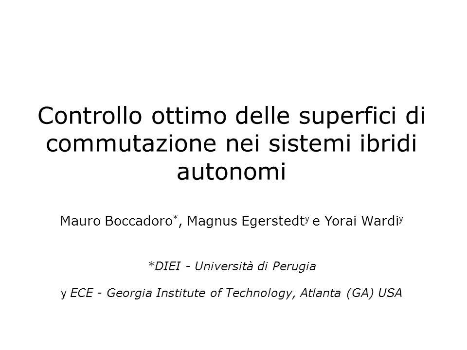Sommario 1.Controllo ottimo di sistemi ibridi 2.Controllo tramite superfici di commutazione parametrizzate 3.Aspetti implementativi 4.Applicazioni 5.Conclusioni