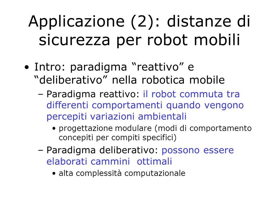 Intro: paradigma reattivo e deliberativo nella robotica mobile –Paradigma reattivo: il robot commuta tra differenti comportamenti quando vengono percepiti variazioni ambientali progettazione modulare (modi di comportamento concepiti per compiti specifici) –Paradigma deliberativo: possono essere elaborati cammini ottimali alta complessità computazionale Applicazione (2): distanze di sicurezza per robot mobili