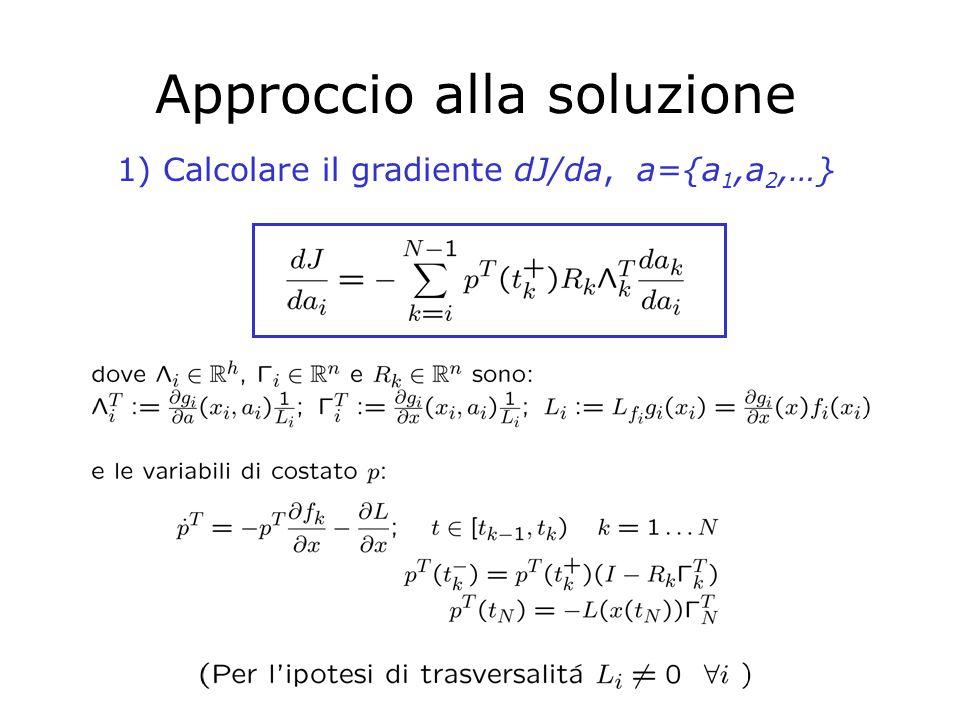 Approccio alla soluzione (2) 2)Applicare algoritmi numerici a discesa del gradiente (soluzioni ottime locali) Complessità del calcolo del gradiente: Sono necessarie due integrazioni: una in avanti per i termini R k e L k T, una all indietro per p(t k + ) Si noti che le traiettorie devono continuare ad essere trasversali durante l'ottimizzazione: ciò implica continuità delle esecuzioni (quindi, continuità di J in a) applicabilità dei metodi a discesa del gradiente