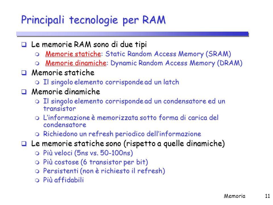 Memoria11 Principali tecnologie per RAM  Le memorie RAM sono di due tipi m Memorie statiche: Static Random Access Memory (SRAM) m Memorie dinamiche: