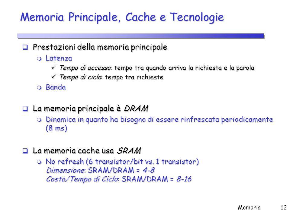 Memoria12 Memoria Principale, Cache e Tecnologie  Prestazioni della memoria principale m Latenza Tempo di accesso: tempo tra quando arriva la richies