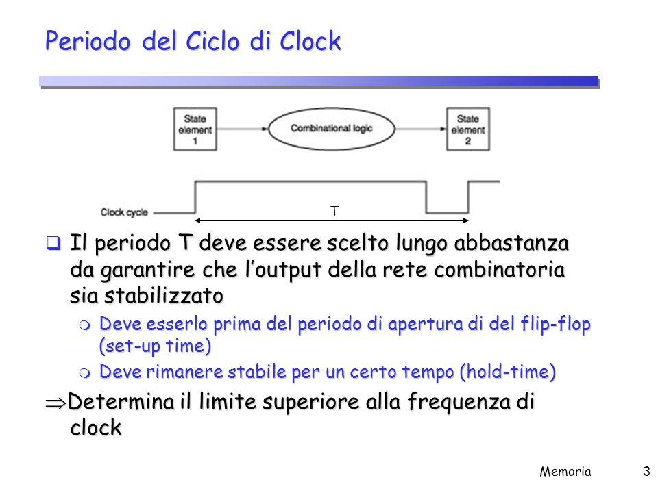 Memoria3 Periodo del Ciclo di Clock  Il periodo T deve essere scelto lungo abbastanza da garantire che l'output della rete combinatoria sia stabilizz