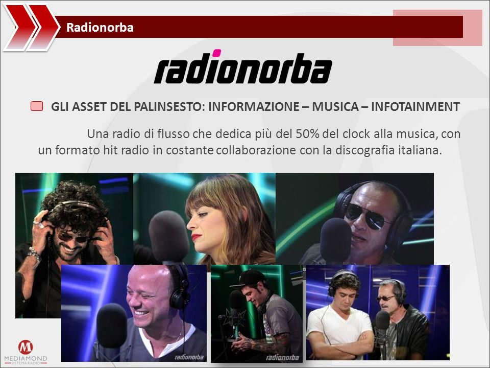 Radionorba Una radio di flusso che dedica più del 50% del clock alla musica, con un formato hit radio in costante collaborazione con la discografia it