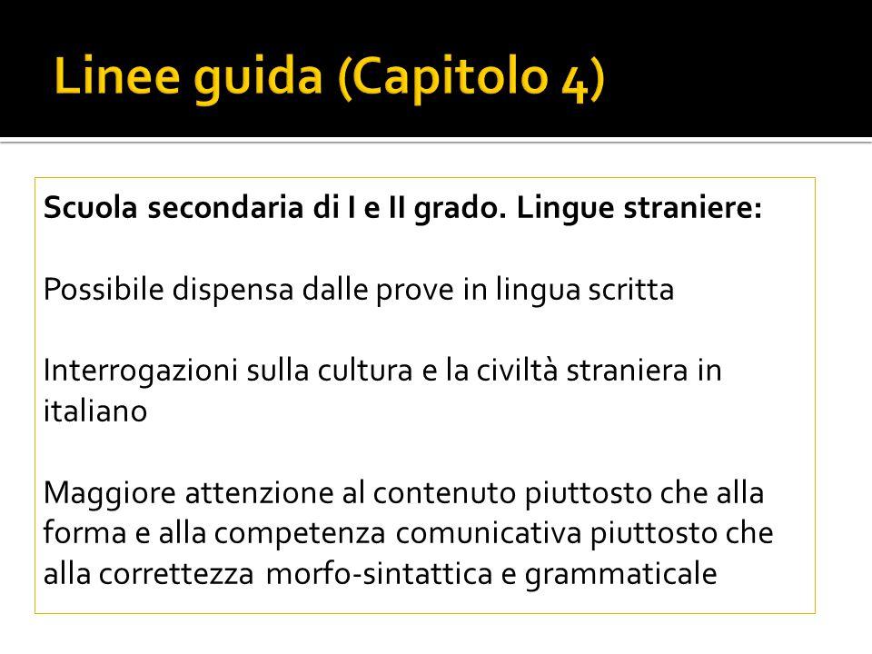 Linee guida (Capitolo 4) Scuola secondaria di I e II grado.