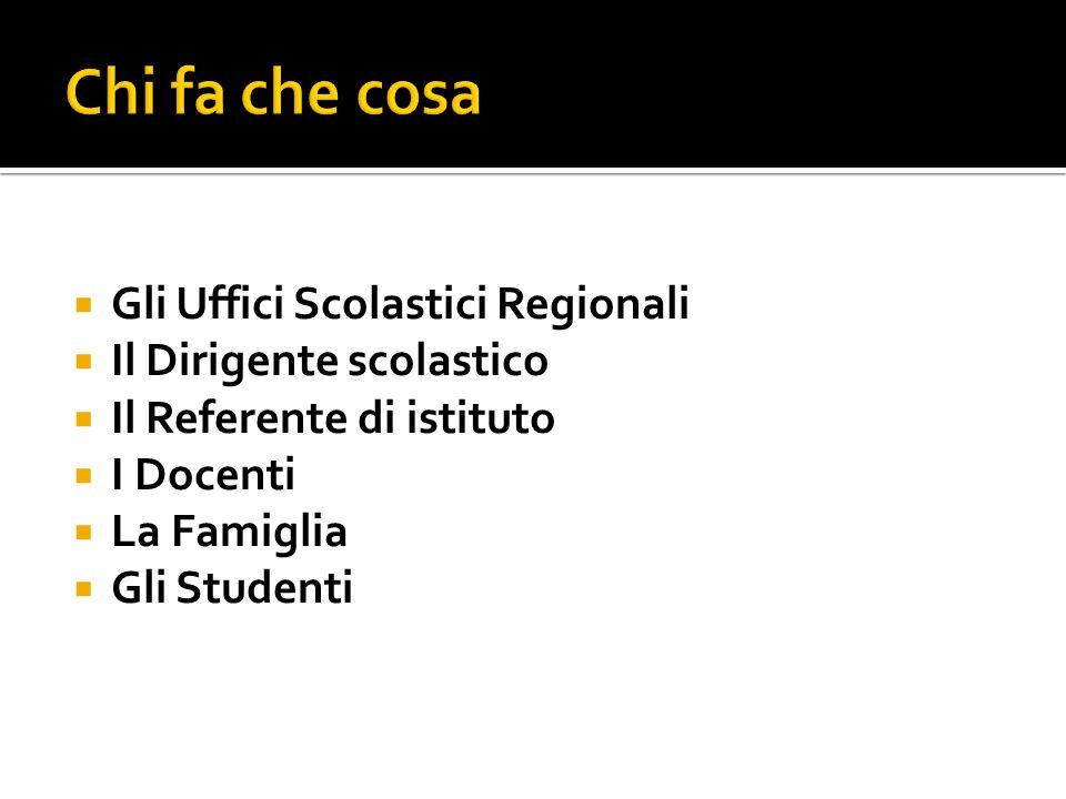  Gli Uffici Scolastici Regionali  Il Dirigente scolastico  Il Referente di istituto  I Docenti  La Famiglia  Gli Studenti