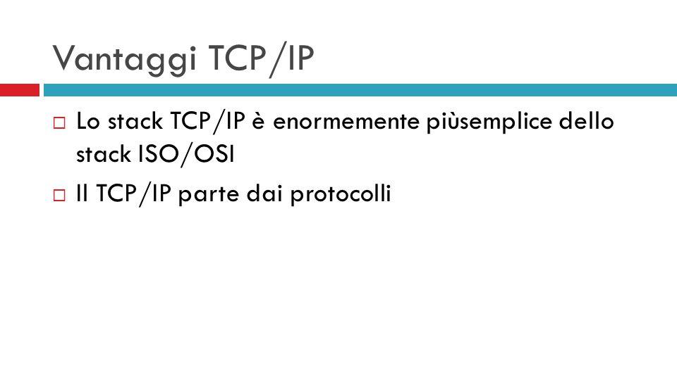 Vantaggi TCP/IP  Lo stack TCP/IP è enormemente piùsemplice dello stack ISO/OSI  Il TCP/IP parte dai protocolli