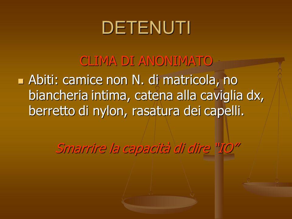 DETENUTI CLIMA DI ANONIMATO Abiti: camice non N. di matricola, no biancheria intima, catena alla caviglia dx, berretto di nylon, rasatura dei capelli.