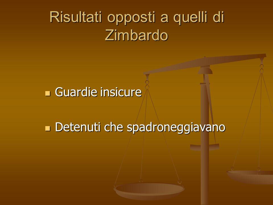 Risultati opposti a quelli di Zimbardo Guardie insicure Guardie insicure Detenuti che spadroneggiavano Detenuti che spadroneggiavano