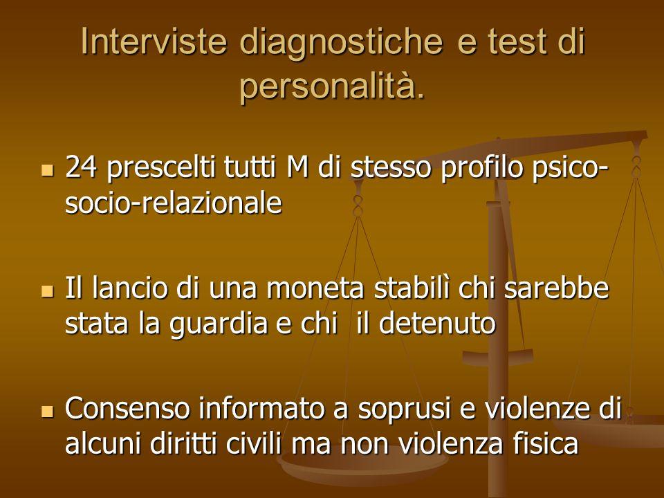 Interviste diagnostiche e test di personalità. 24 prescelti tutti M di stesso profilo psico- socio-relazionale 24 prescelti tutti M di stesso profilo