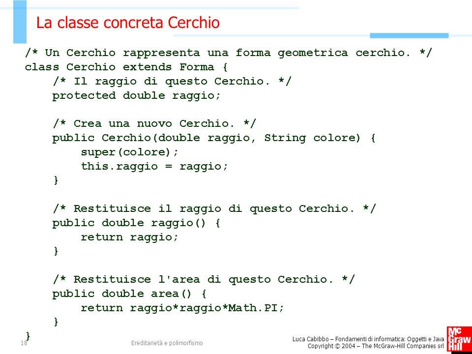 Luca Cabibbo – Fondamenti di informatica: Oggetti e Java Copyright © 2004 – The McGraw-Hill Companies srl Ereditarietà e polimorfismo18 La classe concreta Cerchio /* Un Cerchio rappresenta una forma geometrica cerchio.