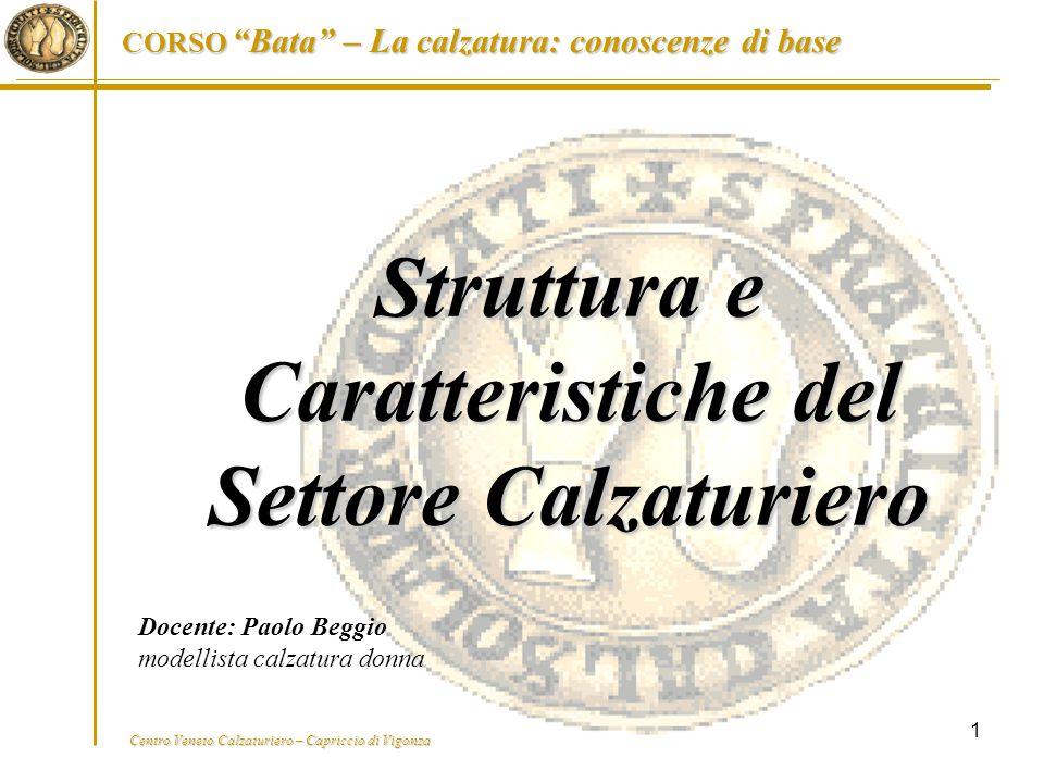 """Centro Veneto Calzaturiero – Capriccio di Vigonza CORSO """"Bata"""" – La calzatura: conoscenze di base 1 Struttura e Caratteristiche del Settore Calzaturie"""