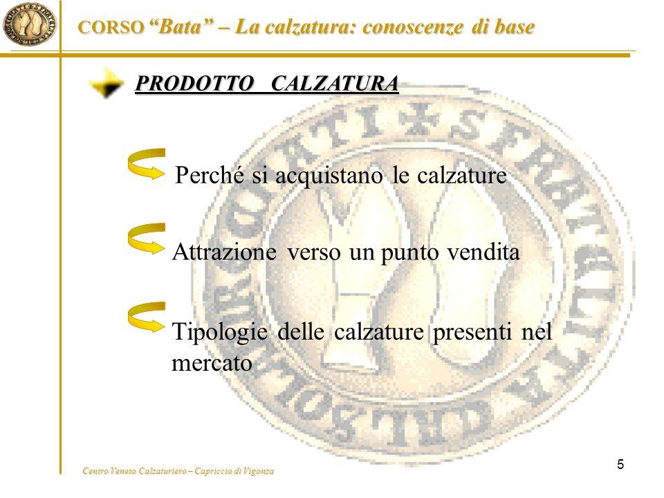 """Centro Veneto Calzaturiero – Capriccio di Vigonza CORSO """"Bata"""" – La calzatura: conoscenze di base 5 PRODOTTO CALZATURA Perché si acquistano le calzatu"""