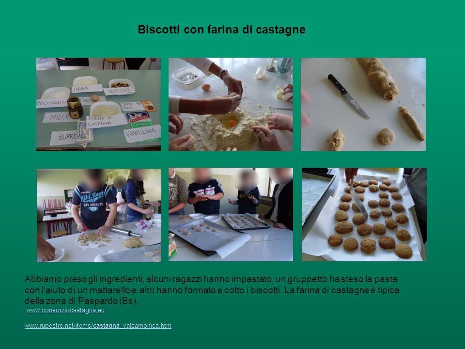 Biscotti con farina di castagne Abbiamo preso gli ingredienti, alcuni ragazzi hanno impastato, un gruppetto ha steso la pasta con l'aiuto di un mattar