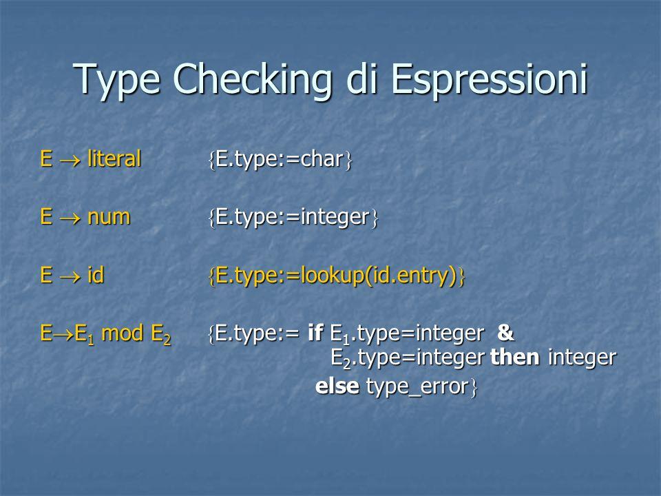 Type Checking di Espressioni E  literal  E.type:=char  E  num  E.type:=integer  E  id  E.type:=lookup(id.entry)  E  E 1 mod E 2  E.type:= if E 1.type=integer & E 2.type=integer then integer else type_error  else type_error 
