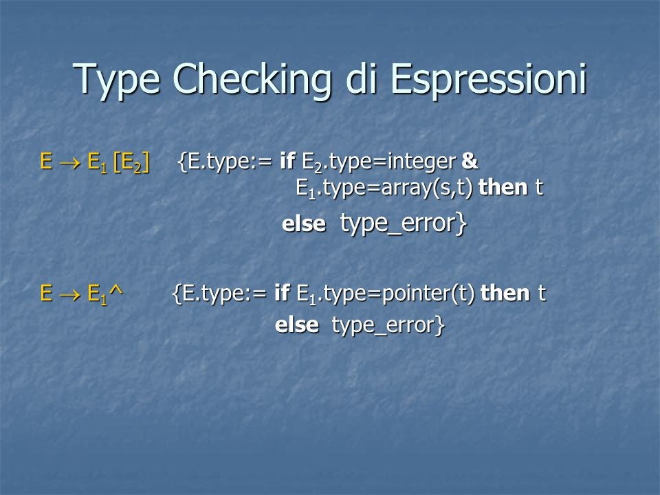 Type Checking di Espressioni E  E 1 [E 2 ] {E.type:= if E 2.type=integer & E 1.type=array(s,t) then t else type_error} else type_error} E  E 1 ^ {E.type:= if E 1.type=pointer(t) then t else type_error} else type_error}