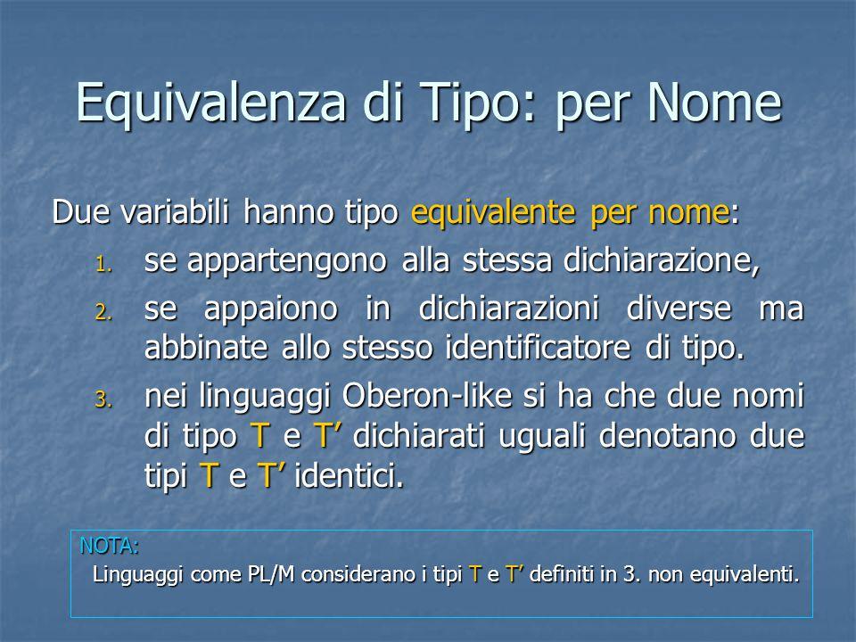 Equivalenza di Tipo: per Nome Due variabili hanno tipo equivalente per nome: 1. se appartengono alla stessa dichiarazione, 2. se appaiono in dichiaraz