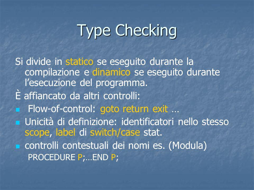 Type Checking Si divide in statico se eseguito durante la compilazione e dinamico se eseguito durante l'esecuzione del programma.