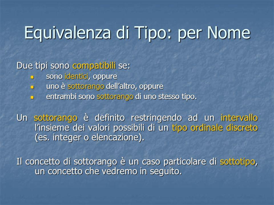 Equivalenza di Tipo: per Nome Due tipi sono compatibili se: sono identici, oppure sono identici, oppure uno è sottorango dell'altro, oppure uno è sottorango dell'altro, oppure entrambi sono sottorango di uno stesso tipo.