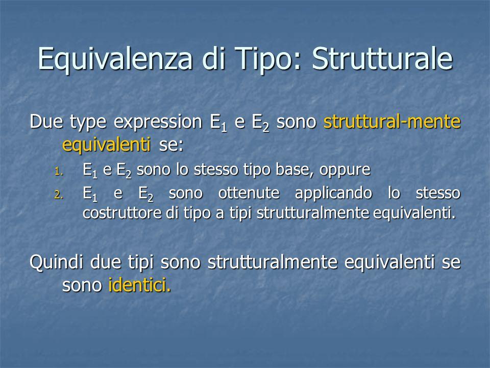 Equivalenza di Tipo: Strutturale Due type expression E 1 e E 2 sono struttural-mente equivalenti se: 1. E 1 e E 2 sono lo stesso tipo base, oppure 2.