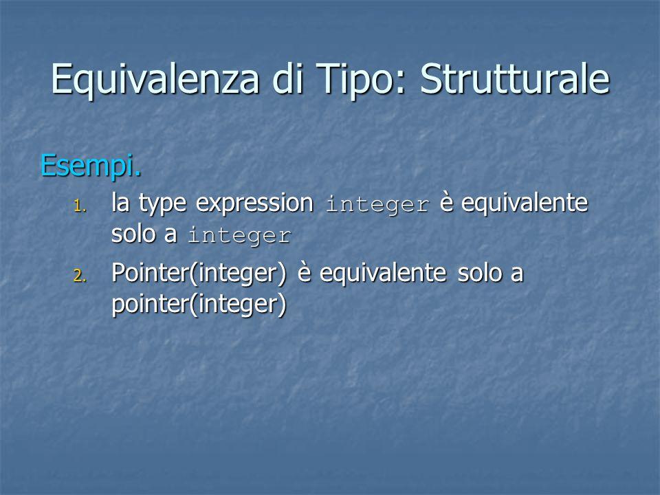 Equivalenza di Tipo: Strutturale Esempi. 1. la type expression integer è equivalente solo a integer 2. Pointer(integer) è equivalente solo a pointer(i