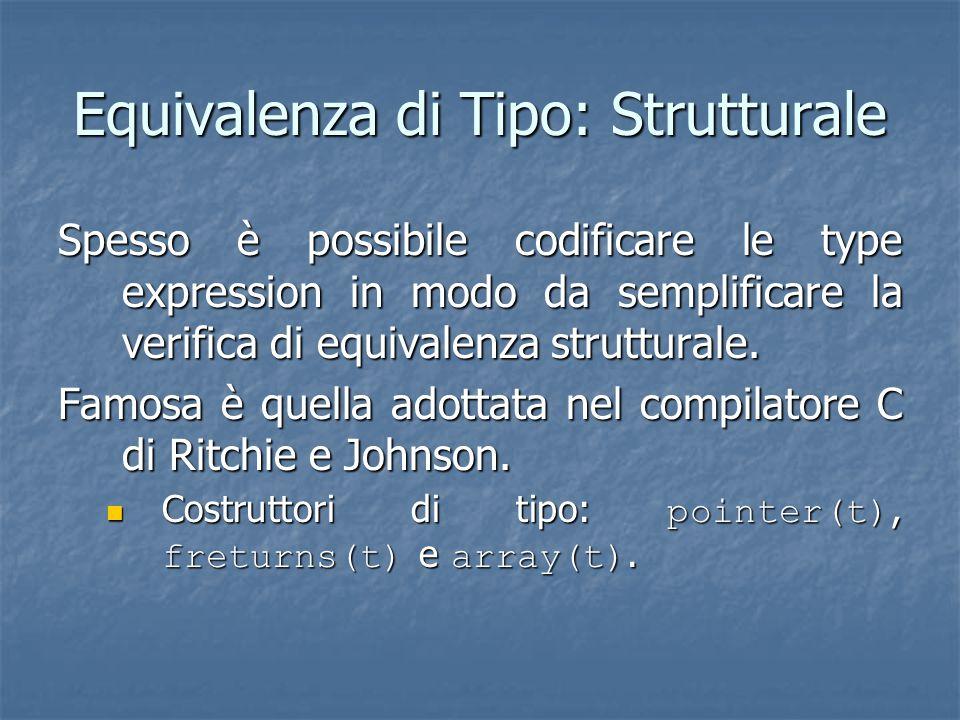 Equivalenza di Tipo: Strutturale Spesso è possibile codificare le type expression in modo da semplificare la verifica di equivalenza strutturale.