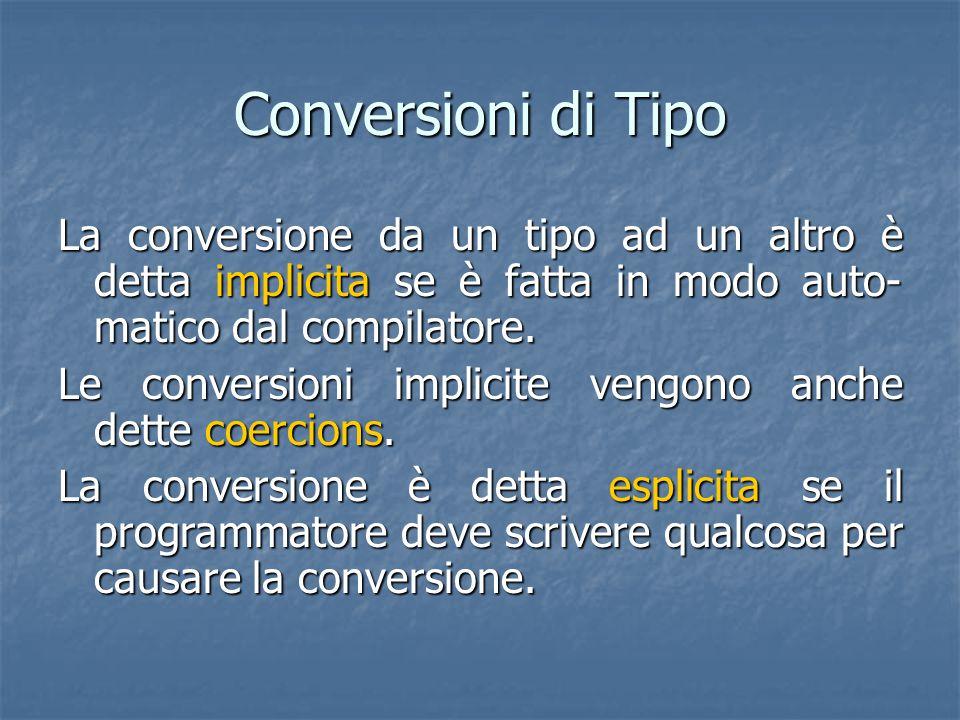 Conversioni di Tipo La conversione da un tipo ad un altro è detta implicita se è fatta in modo auto- matico dal compilatore. Le conversioni implicite