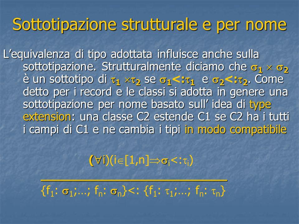 Sottotipazione strutturale e per nome L'equivalenza di tipo adottata influisce anche sulla sottotipazione. Strutturalmente diciamo che  1   2 è un