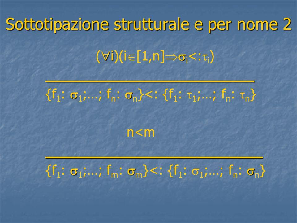 Sottotipazione strutturale e per nome 2  i  (  i)(i  [1,n]  i <:  i ) _________________________ _________________________  {f 1 :  1 ;…; f n :  n }<: {f 1 :  1 ;…; f n :  n } n<m __________________________ __________________________  {f 1 :  1 ;…; f m :  m }<: {f 1 :  1 ;…; f n :  n }