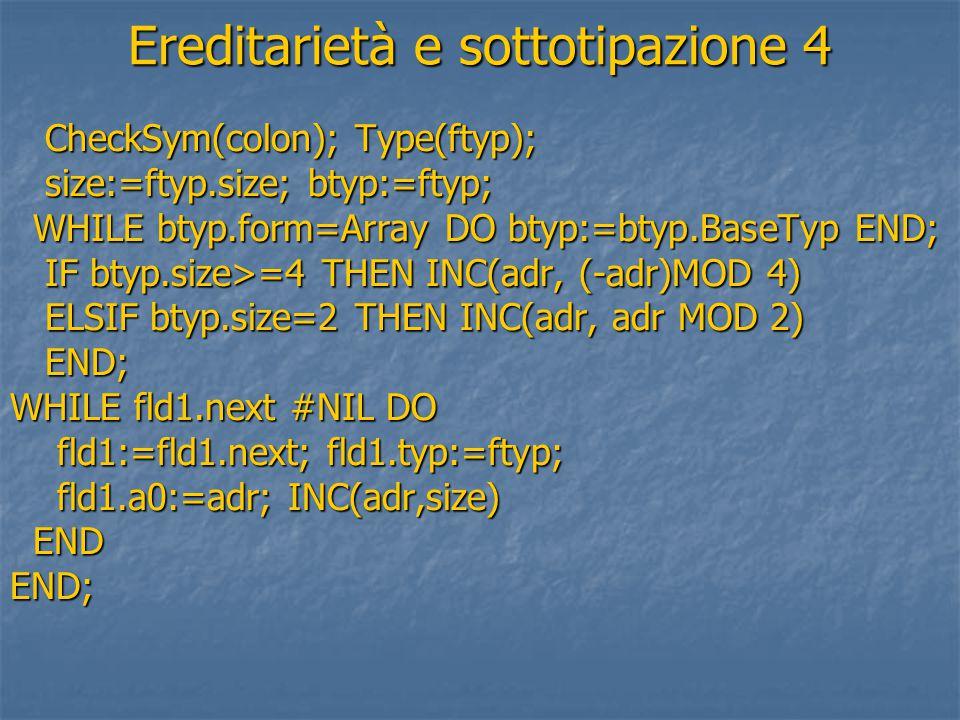Ereditarietà e sottotipazione 4 CheckSym(colon); Type(ftyp); CheckSym(colon); Type(ftyp); size:=ftyp.size; btyp:=ftyp; size:=ftyp.size; btyp:=ftyp; WHILE btyp.form=Array DO btyp:=btyp.BaseTyp END; WHILE btyp.form=Array DO btyp:=btyp.BaseTyp END; IF btyp.size>=4 THEN INC(adr, (-adr)MOD 4) IF btyp.size>=4 THEN INC(adr, (-adr)MOD 4) ELSIF btyp.size=2 THEN INC(adr, adr MOD 2) ELSIF btyp.size=2 THEN INC(adr, adr MOD 2) END; END; WHILE fld1.next #NIL DO fld1:=fld1.next; fld1.typ:=ftyp; fld1:=fld1.next; fld1.typ:=ftyp; fld1.a0:=adr; INC(adr,size) fld1.a0:=adr; INC(adr,size) END ENDEND;