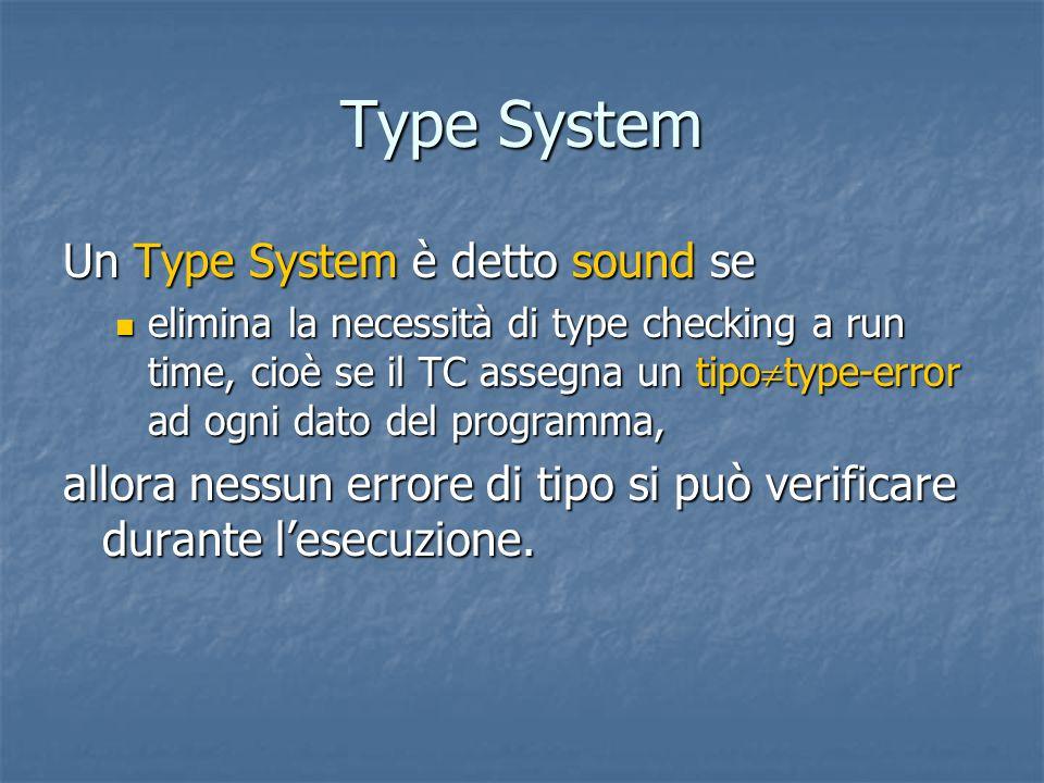 Type System Un Type System è detto sound se elimina la necessità di type checking a run time, cioè se il TC assegna un tipo  type-error ad ogni dato del programma, elimina la necessità di type checking a run time, cioè se il TC assegna un tipo  type-error ad ogni dato del programma, allora nessun errore di tipo si può verificare durante l'esecuzione.