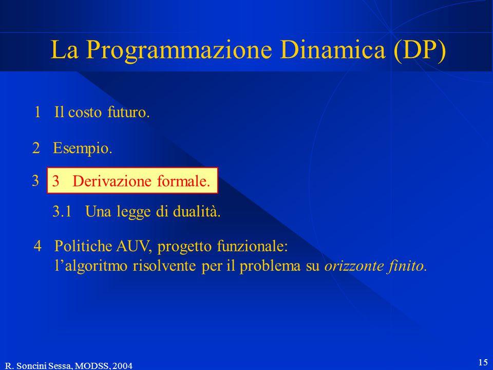 R. Soncini Sessa, MODSS, 2004 15 La Programmazione Dinamica (DP) 1 Il costo futuro.