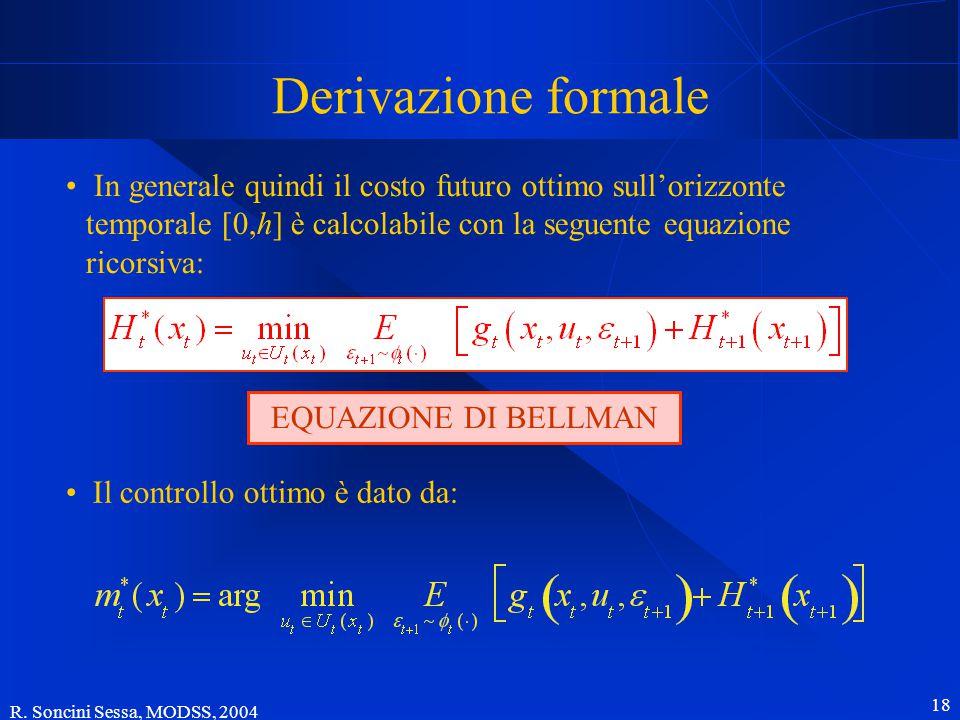 R. Soncini Sessa, MODSS, 2004 18 Derivazione formale In generale quindi il costo futuro ottimo sull'orizzonte temporale [0,h] è calcolabile con la seg