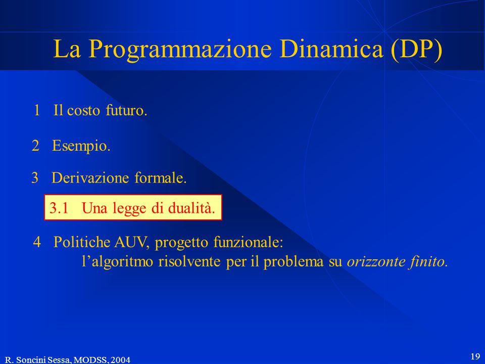 R. Soncini Sessa, MODSS, 2004 19 La Programmazione Dinamica (DP) 1 Il costo futuro.