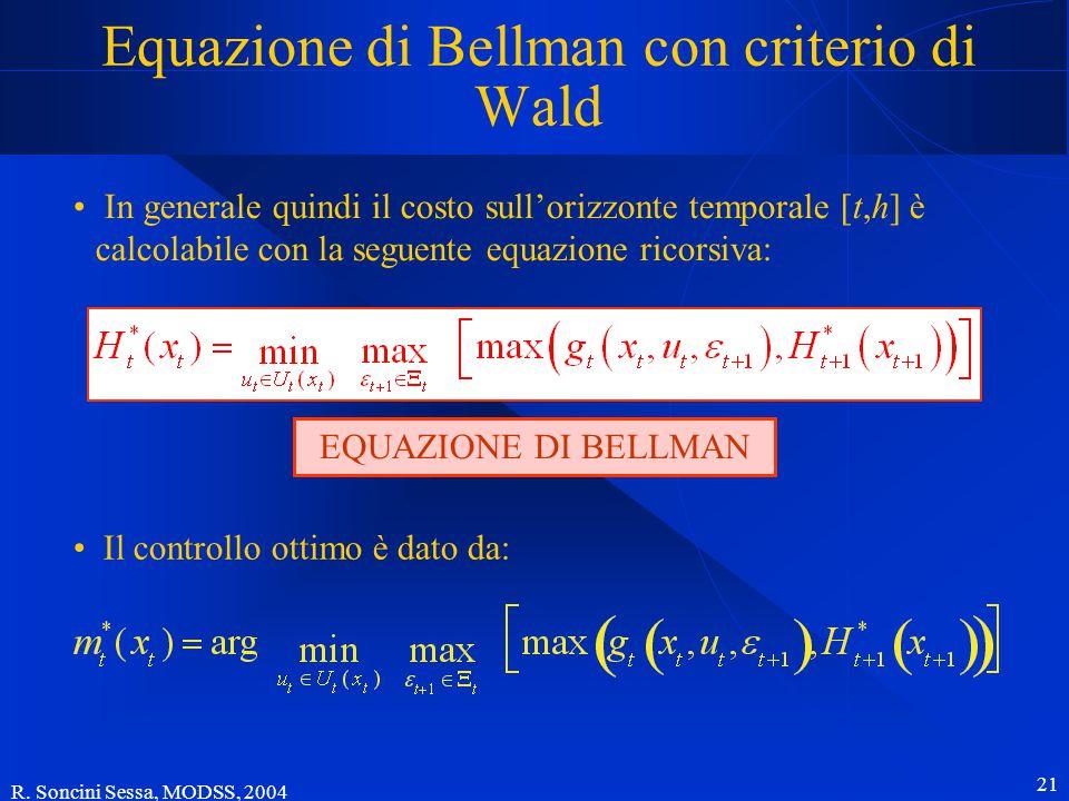 R. Soncini Sessa, MODSS, 2004 21 Equazione di Bellman con criterio di Wald In generale quindi il costo sull'orizzonte temporale [t,h] è calcolabile co