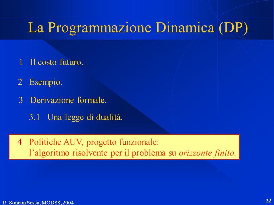 R. Soncini Sessa, MODSS, 2004 22 La Programmazione Dinamica (DP) 1 Il costo futuro.