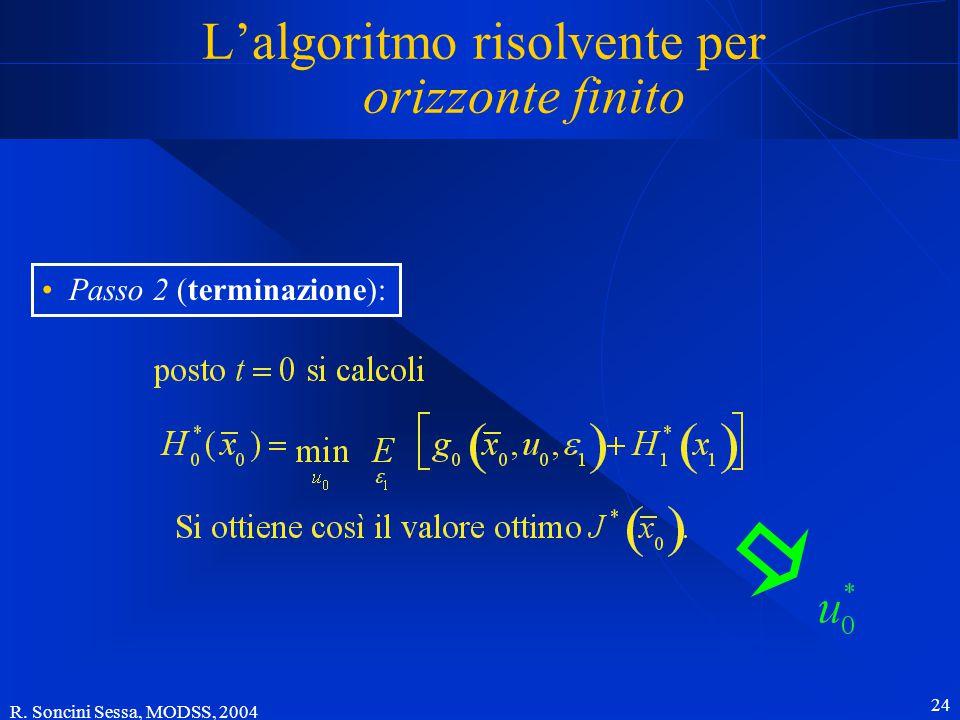 R. Soncini Sessa, MODSS, 2004 24 L'algoritmo risolvente per orizzonte finito Passo 2 (terminazione):